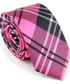 pink_black_plaid_skinny_tie_australia