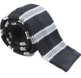 Black, Grey and White Knit Tie