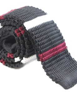 Black, White and Maroon Knit Tie