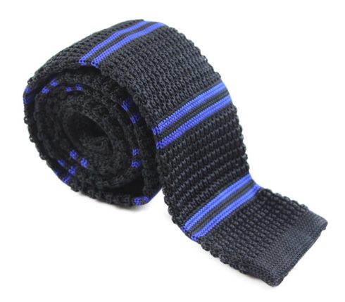 Black and Royal Blue Knit Tie