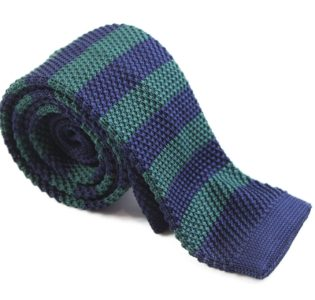 Bottle Green and Navy Knit Tie