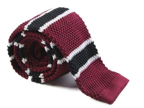 Maroon, Black and White Knit Tie