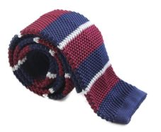 Maroon, Navy and Grey Knit Tie