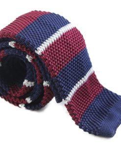 Maroon, Navy and Grey Knit Tie