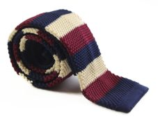 Navy, Latte and Maroon Knit Tie