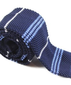 Navy, White and Light Blue Knit Tie