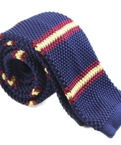 Navy, Yellow and Maroon Knit Tie