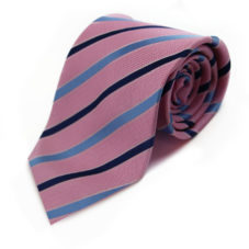 Pink, Blue and Navy Striped Neck Tie