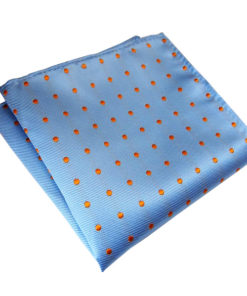 light-blue-orange-polka-dot-pocket-square