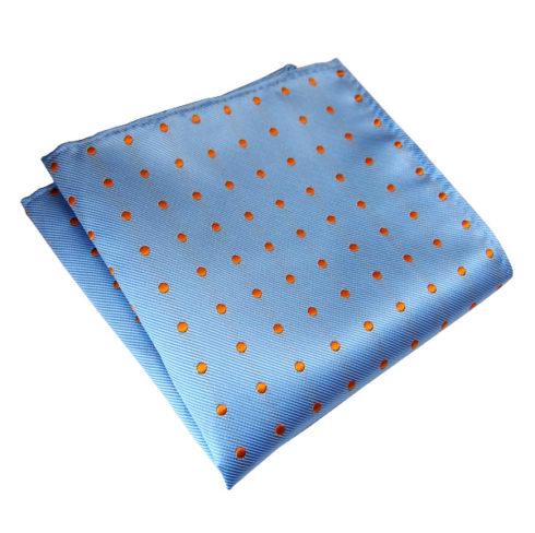 light-blue-orange-polka-dot-pocket-square