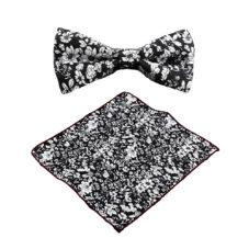 black_white_floral_bow_tie_pocket_square_tie_rack_australia_online