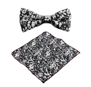 black_white_floral_bow_tie_pocket_square_tie_rack_australia_online