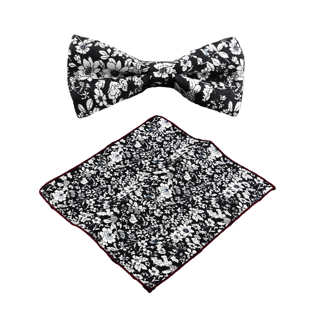 Black Flower Bow With Diamond: Black And White Floral Bow Tie With Matching Pocket Square