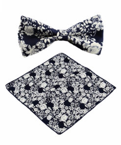 navy_white_floral_bow_tie_pocket_square_tie_rack_australia_online