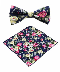 pink_yellow_rose_floral_bow_tie_pocket_square_tie_rack_australia_online